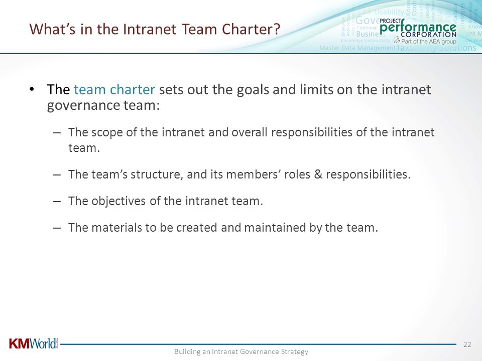 What's in the Intranet Team Charter