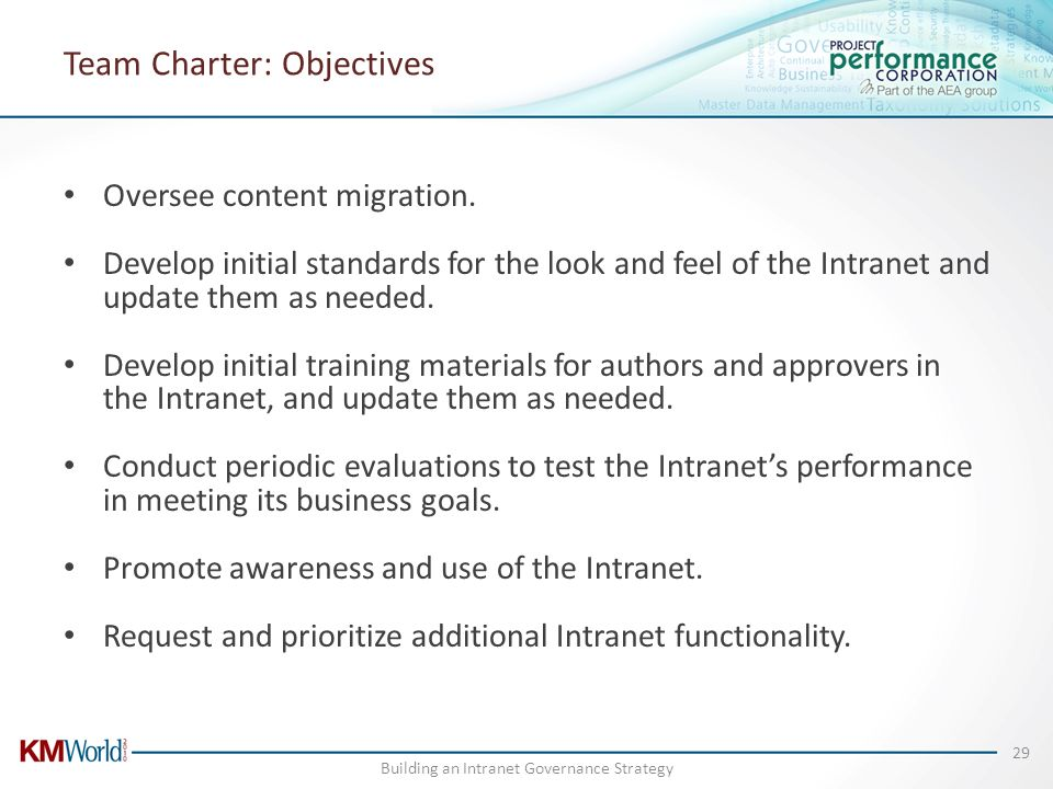 Team Charter: Objectives