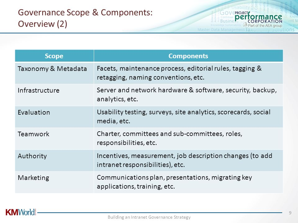 Governance Scope & Components: Overview (2)