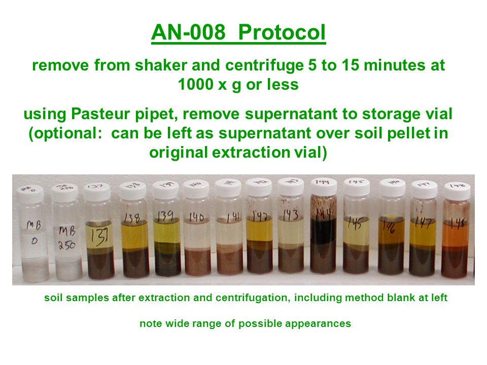 AN-008 Protocol remove from shaker and centrifuge 5 to 15 minutes at 1000 x g or less.
