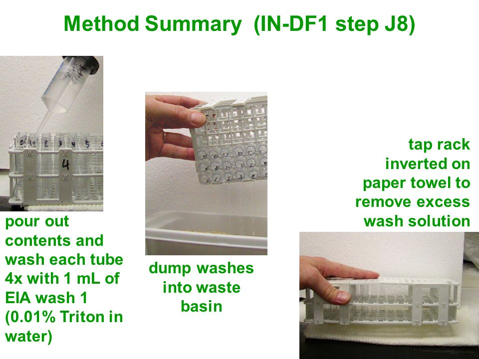 Method Summary (IN-DF1 step J8) dump washes into waste basin