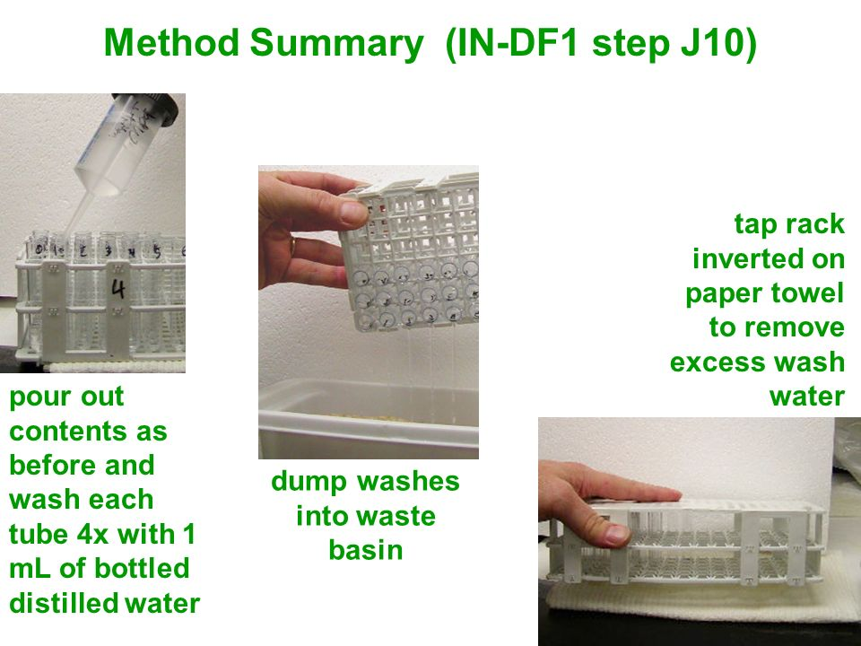 Method Summary (IN-DF1 step J10) dump washes into waste basin