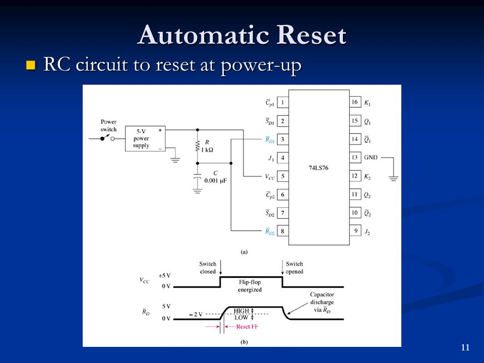 Automatic Reset RC circuit to reset at power-up 11
