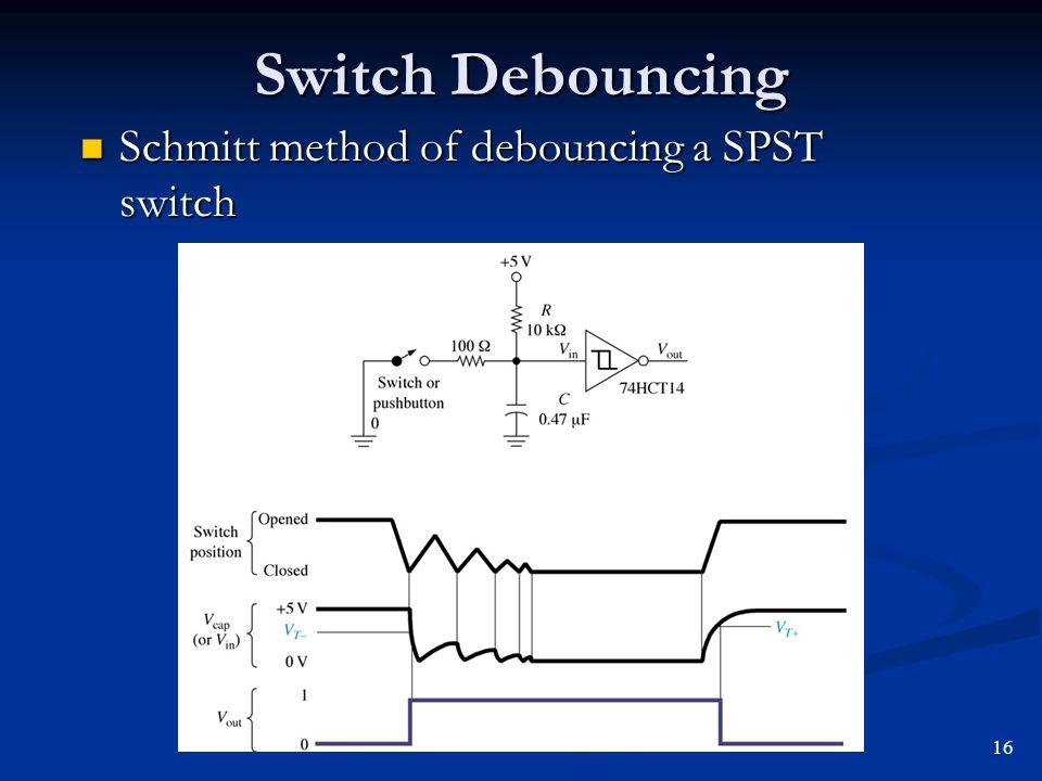 Switch Debouncing Schmitt method of debouncing a SPST switch 16