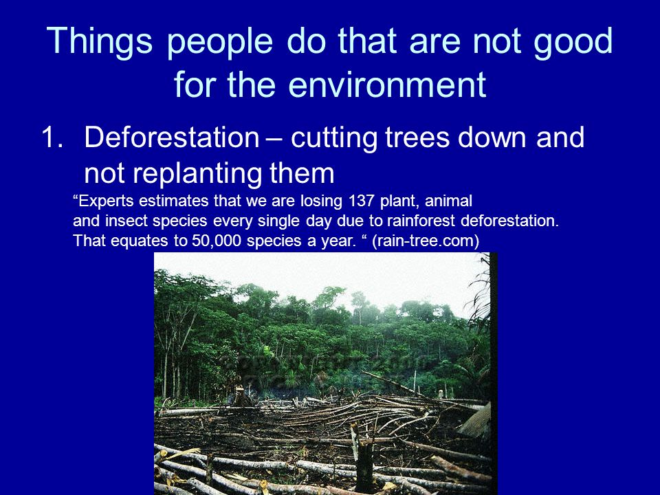Things people do that are not good for the environment