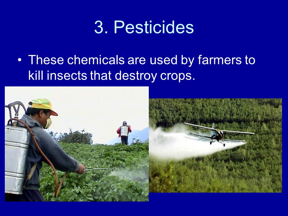 3. Pesticides These chemicals are used by farmers to kill insects that destroy crops.