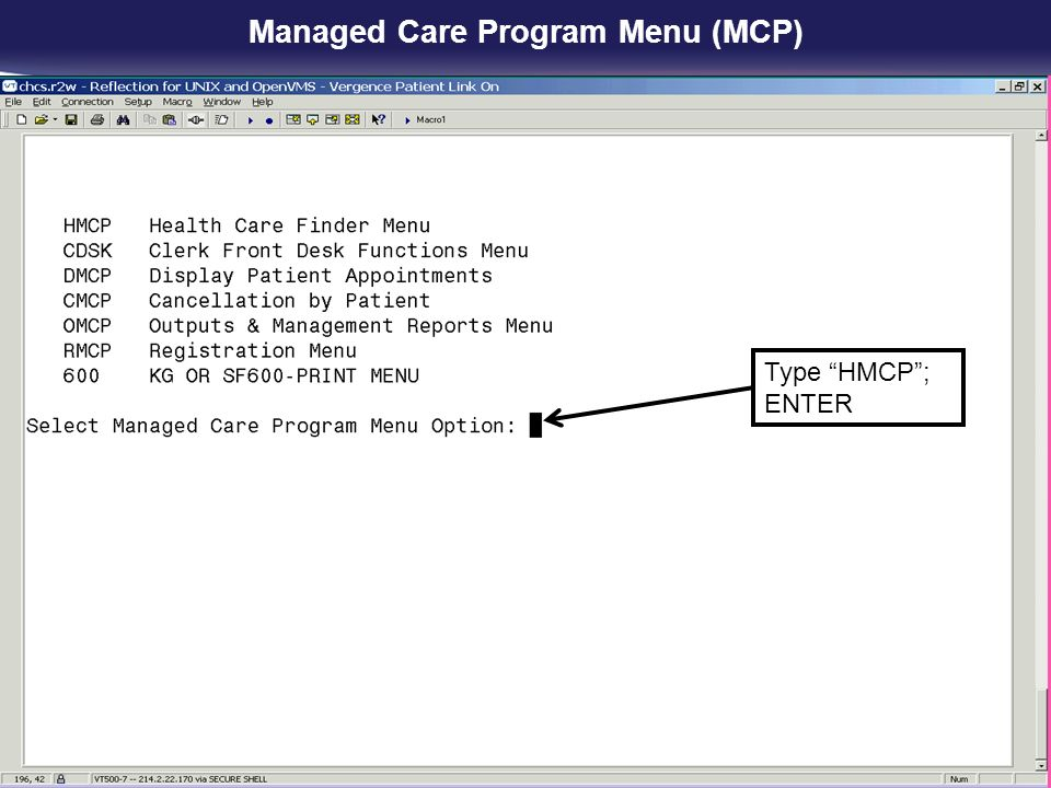 Managed Care Program Menu (MCP)
