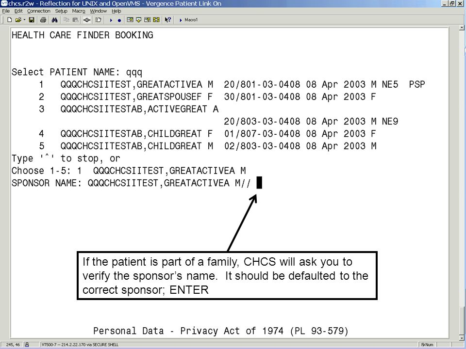 If the patient is part of a family, CHCS will ask you to verify the sponsor's name.