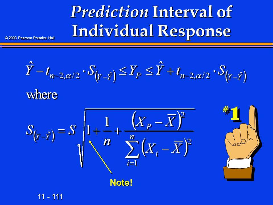 Prediction Interval of Individual Response