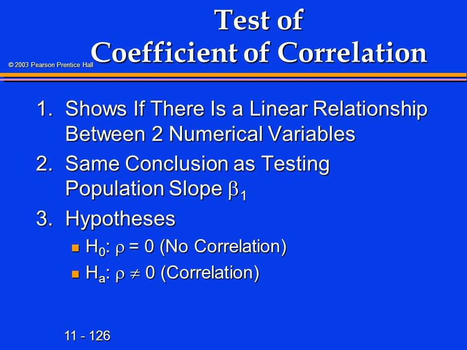 Test of Coefficient of Correlation