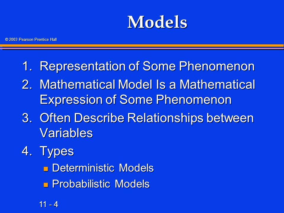 Models 1. Representation of Some Phenomenon