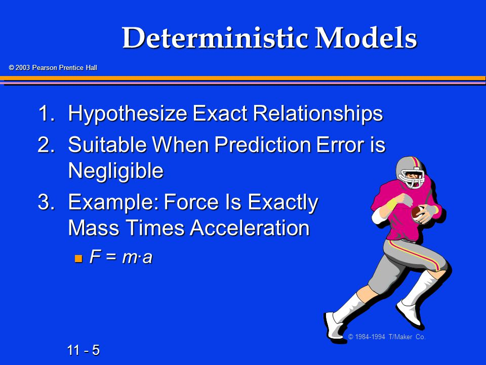 Deterministic Models 1. Hypothesize Exact Relationships