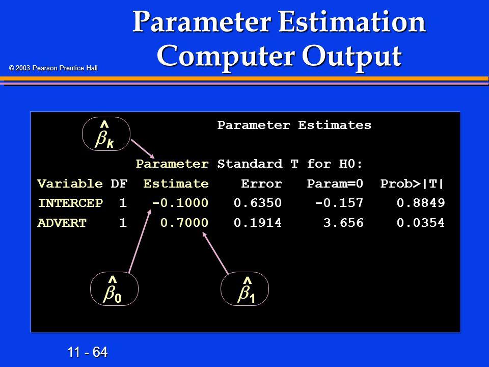 Parameter Estimation Computer Output