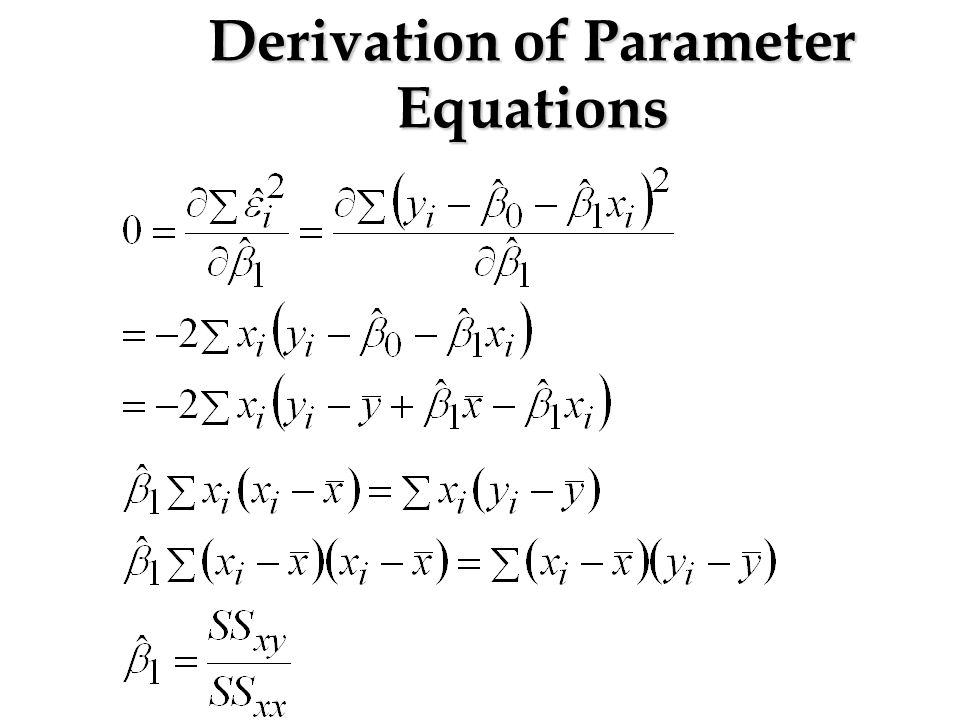 Derivation of Parameter Equations