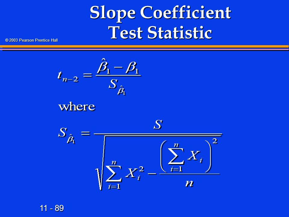Slope Coefficient Test Statistic