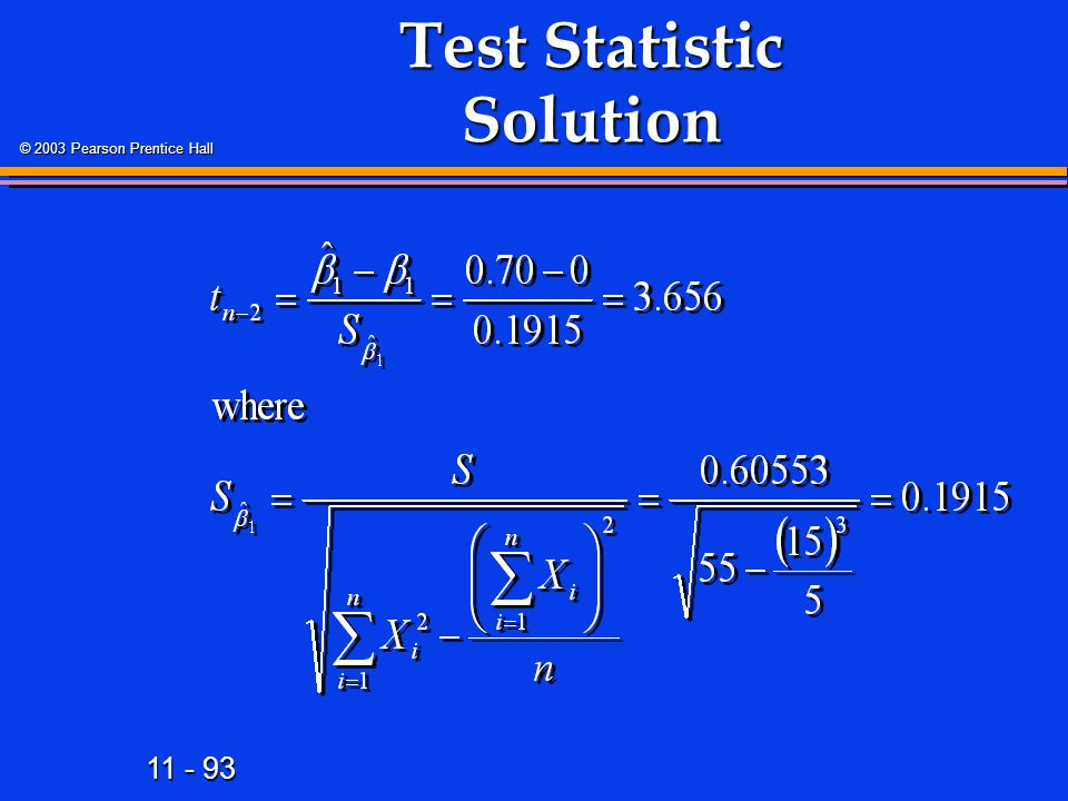 Test Statistic Solution