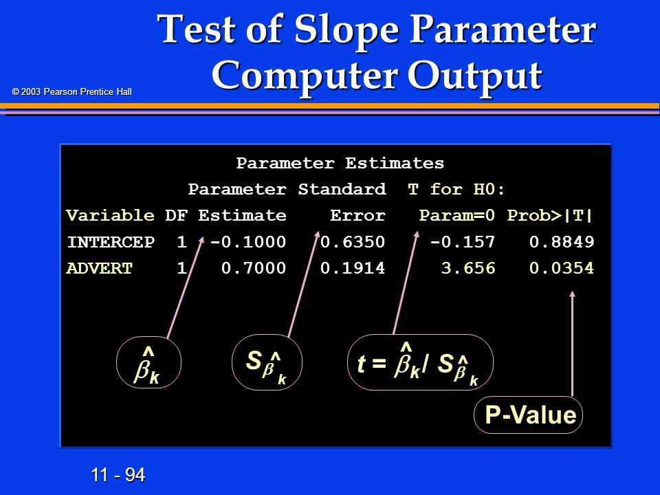 Test of Slope Parameter Computer Output