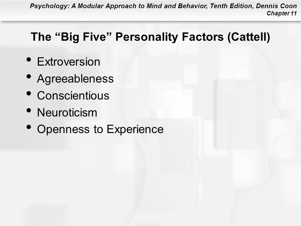 The Big Five Personality Factors (Cattell)