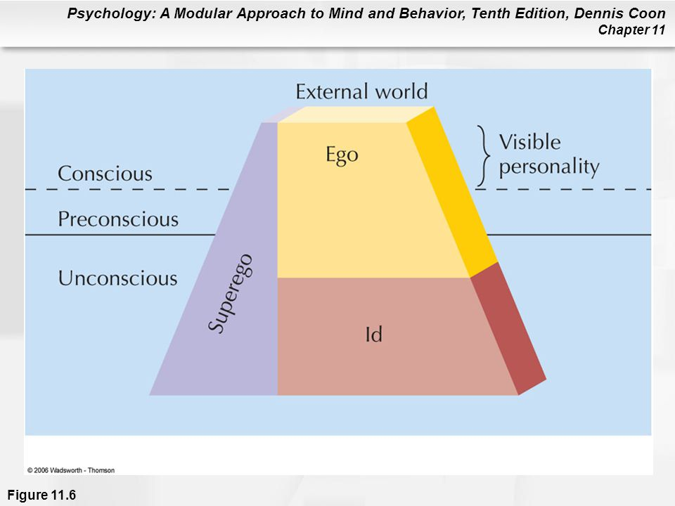 Figure 11.6 The approximate relationship between the id, ego, and superego, and the levels of awareness.