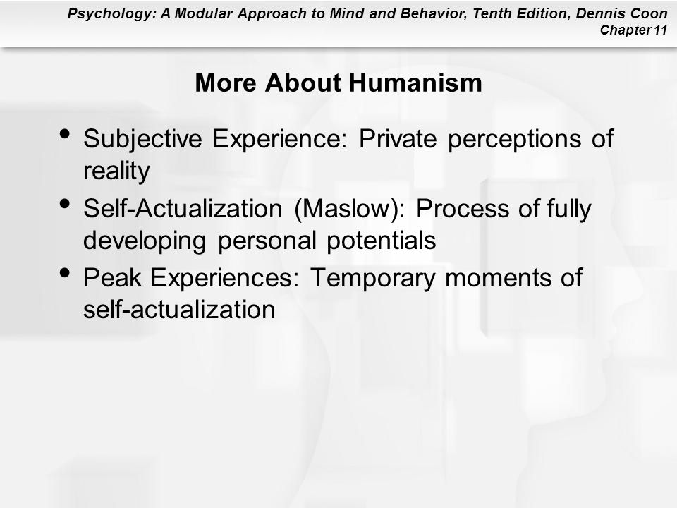 More About Humanism Subjective Experience: Private perceptions of reality.
