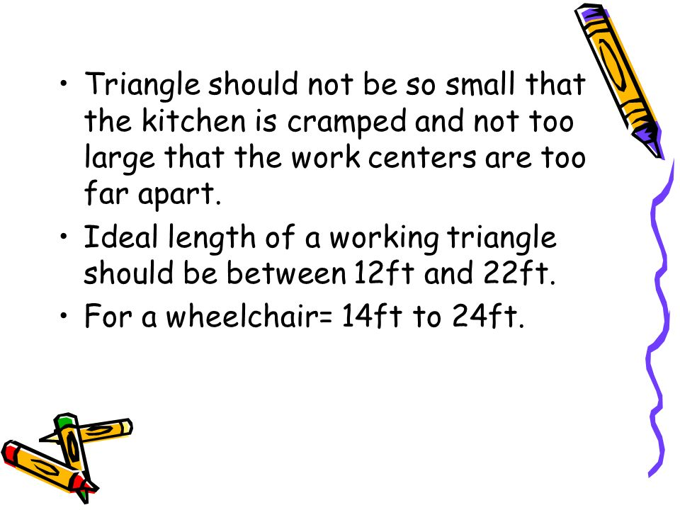 Triangle should not be so small that the kitchen is cramped and not too large that the work centers are too far apart.