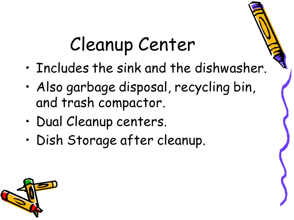Cleanup Center Includes the sink and the dishwasher.