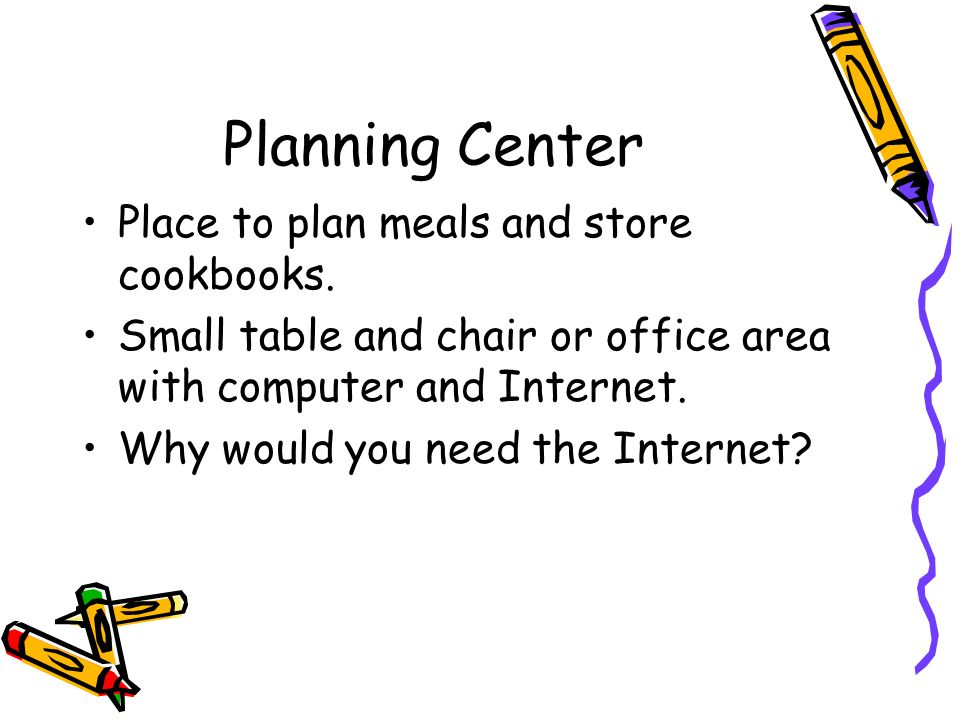 Planning Center Place to plan meals and store cookbooks.