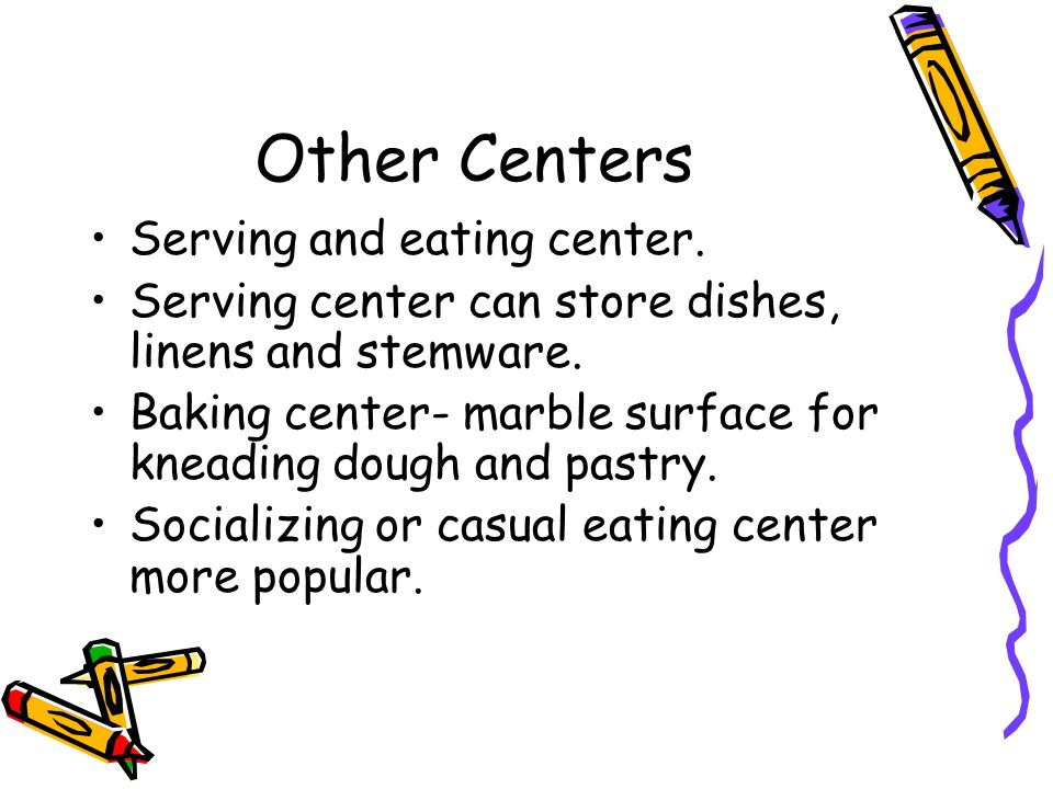 Other Centers Serving and eating center.