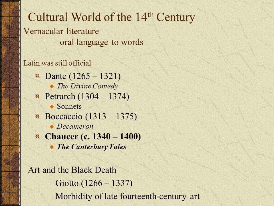 Cultural World of the 14th Century