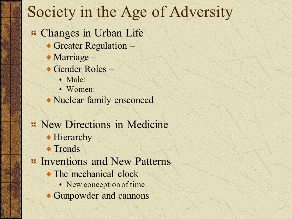 Society in the Age of Adversity