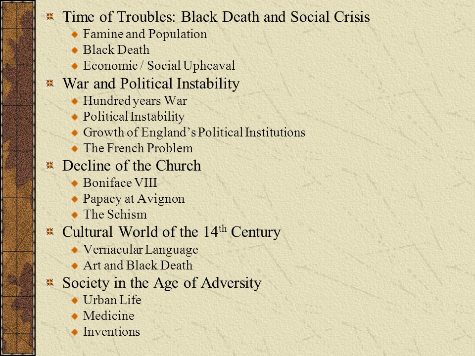 Time of Troubles: Black Death and Social Crisis