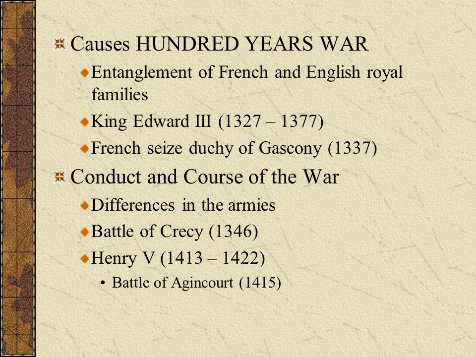 Causes HUNDRED YEARS WAR