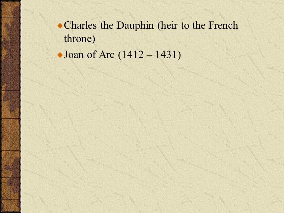 Charles the Dauphin (heir to the French throne)