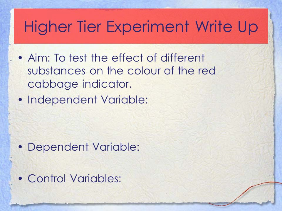 Higher Tier Experiment Write Up