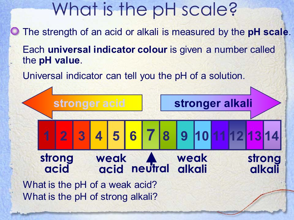 What is the pH scale 1 2 3 4 5 6 7 8 9 10 11 12 13 14 stronger acid