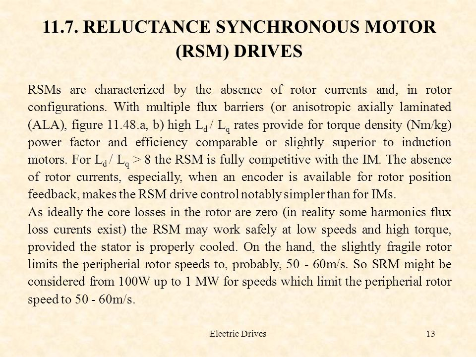 11.7. RELUCTANCE SYNCHRONOUS MOTOR (RSM) DRIVES