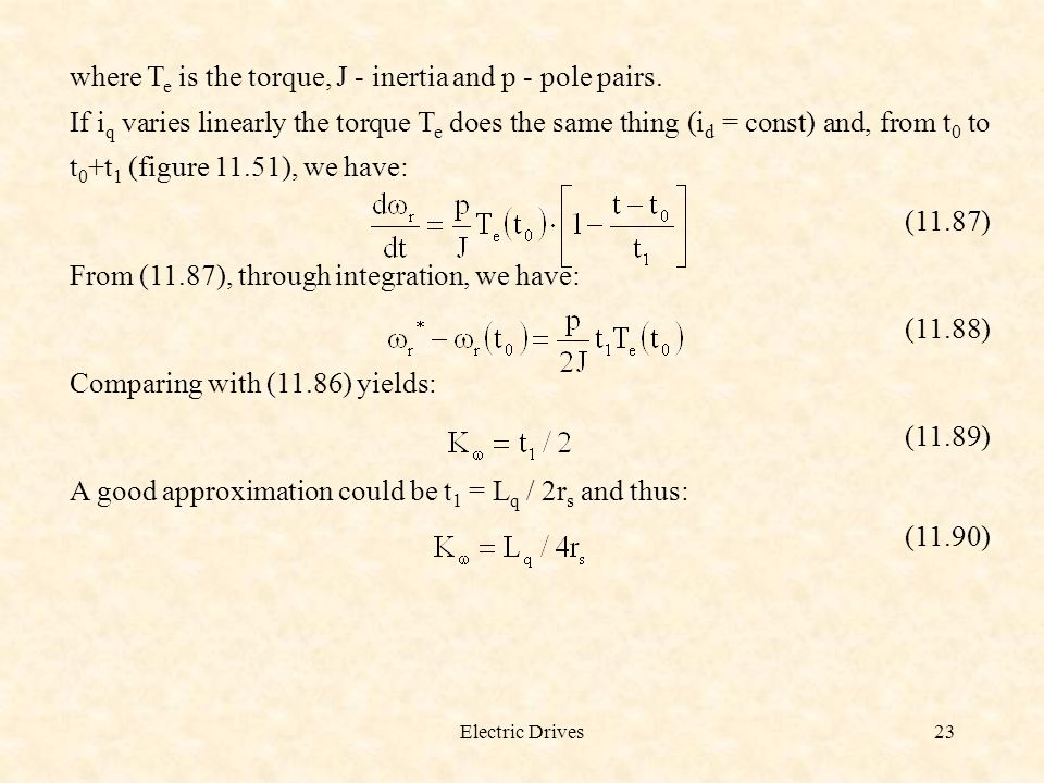where Te is the torque, J - inertia and p - pole pairs.