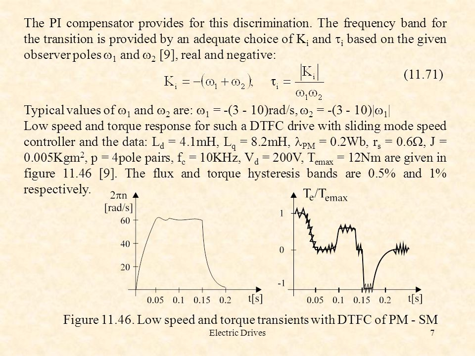 Figure 11.46. Low speed and torque transients with DTFC of PM - SM