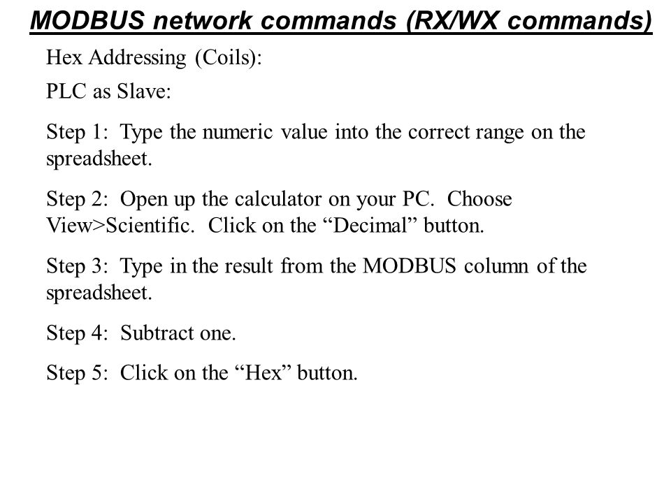 MODBUS network commands (RX/WX commands)