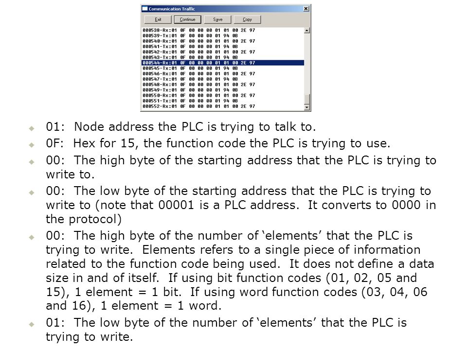 01: Node address the PLC is trying to talk to.
