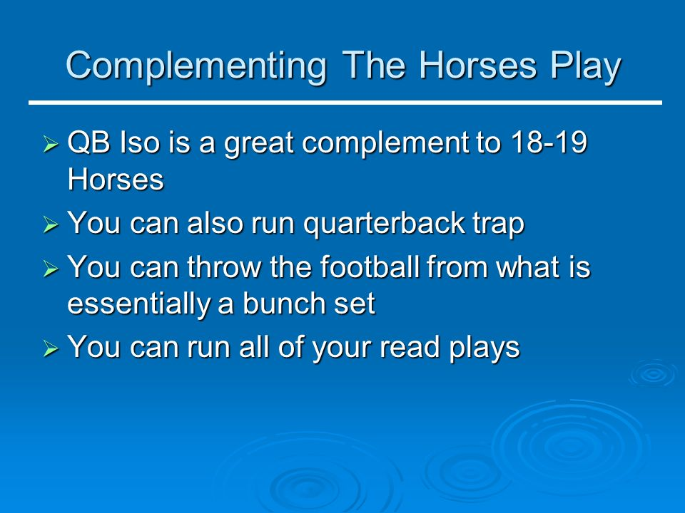 Complementing The Horses Play