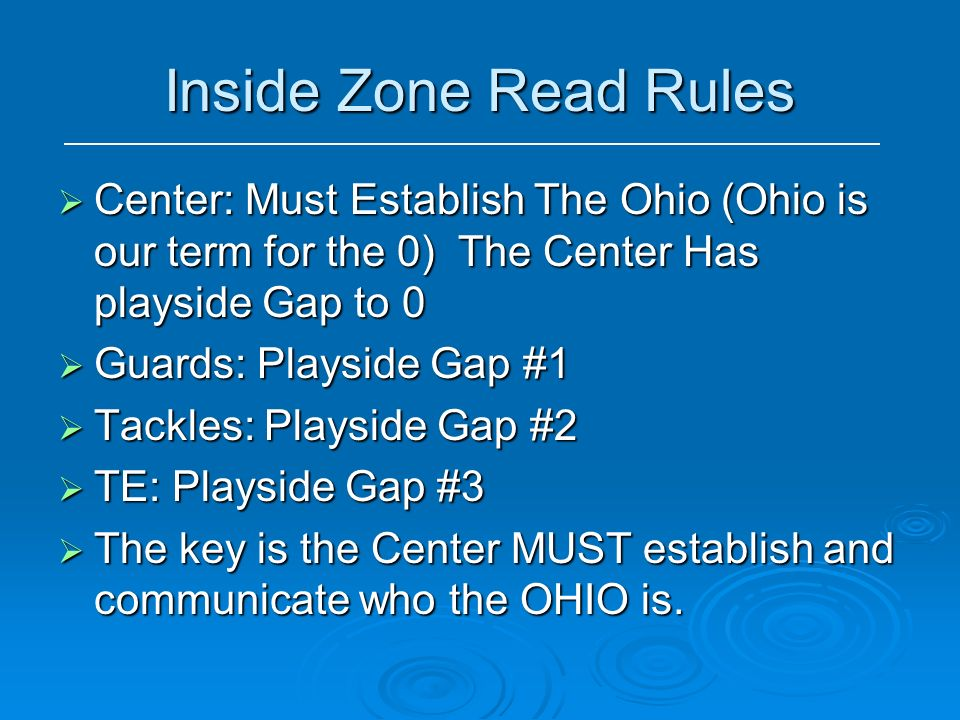 Inside Zone Read Rules Center: Must Establish The Ohio (Ohio is our term for the 0) The Center Has playside Gap to 0.