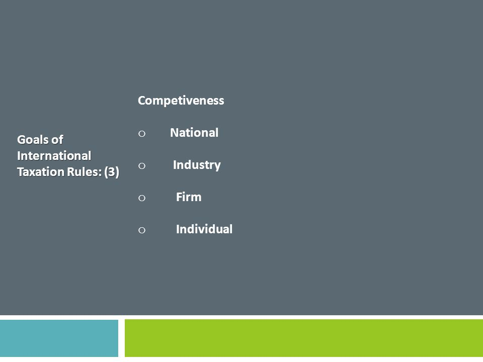 Competiveness National Industry Firm Individual Goals of International Taxation Rules: (3)