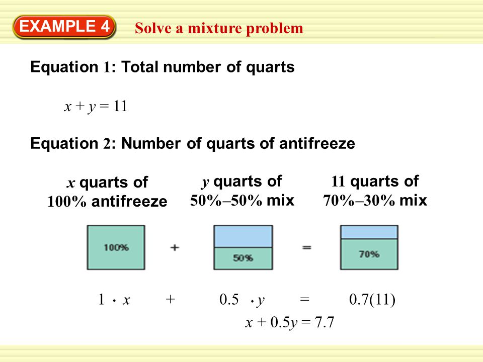 EXAMPLE 4 Solve a mixture problem. Equation 1: Total number of quarts. x + y = 11. Equation 2: Number of quarts of antifreeze.