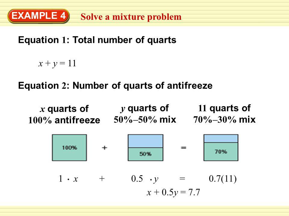 EXAMPLE 4 Solve a mixture problem. Equation 1: Total number of quarts. x + y = 11. Equation 2: Number of quarts of antifreeze.
