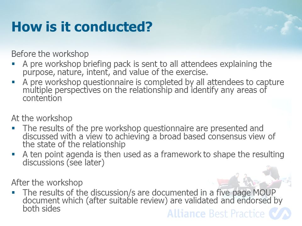 How is it conducted Before the workshop