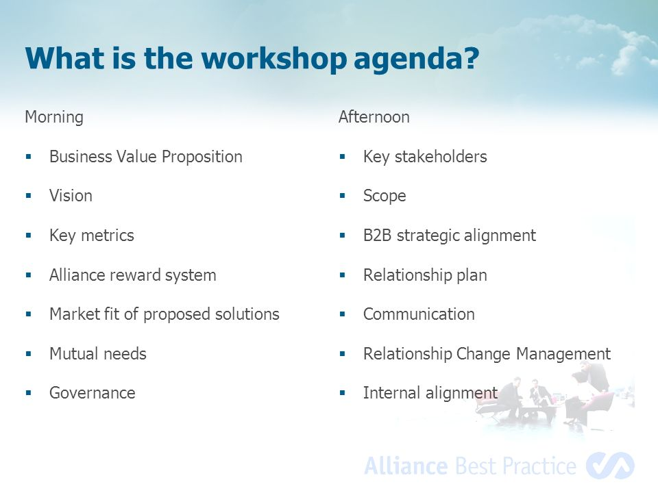 What is the workshop agenda