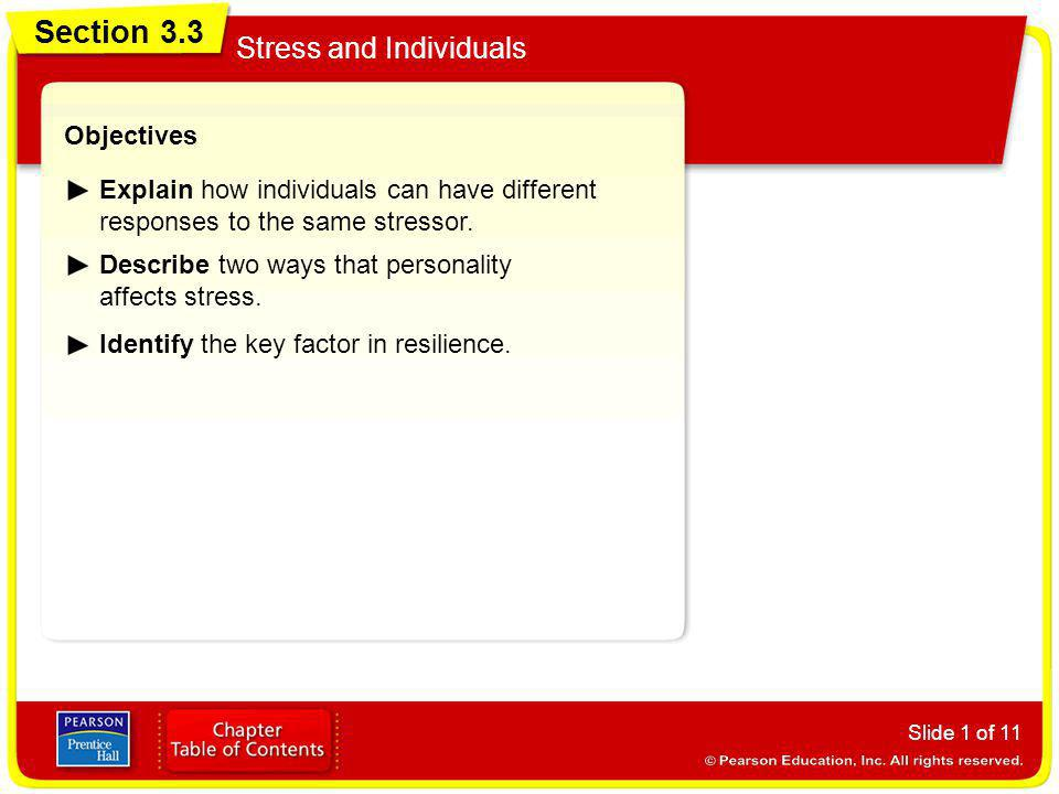Section 3.3 Stress and Individuals Objectives