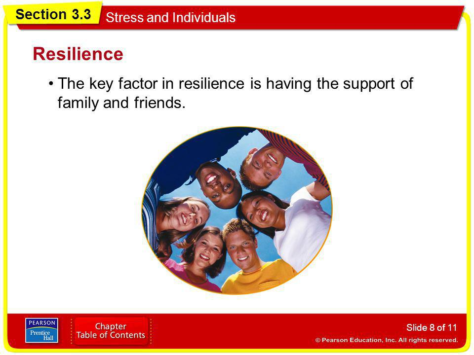 Resilience The key factor in resilience is having the support of family and friends.