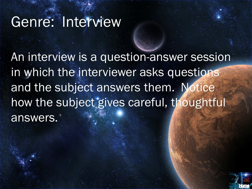 Genre: Interview